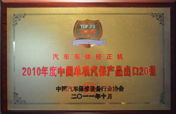 2010年度中国单项汽保产品出口20强